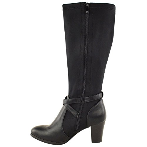 Ladies Womens Wide Leg Stretch Knee High Heel Mid Calf