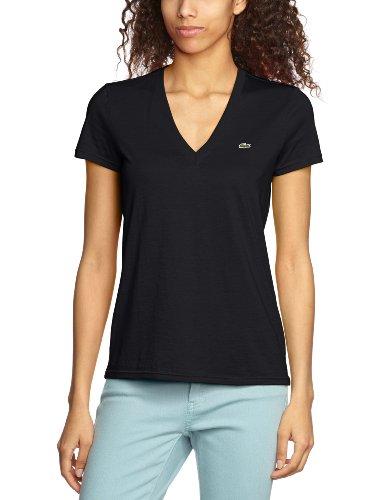 Lacoste Women S Short Sleeve V Neck Jersey T Shirt Black