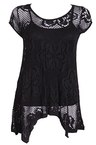 Ladies 2 In 1 Italian Short Sleeve Crochet Top Tunic Lace