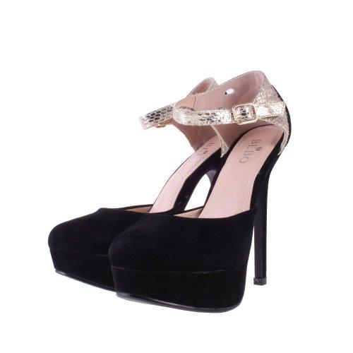 ac6d67bf18 Ladies BEBO Black Faux Suede High Heel Platform Ankle Strap Party ...