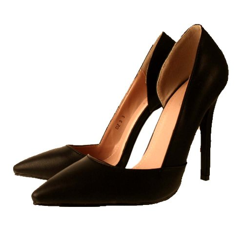 e3fb14535424 Ladies BEBO Black Leather Look Cut Out Side Pointed Toe Stiletto ...
