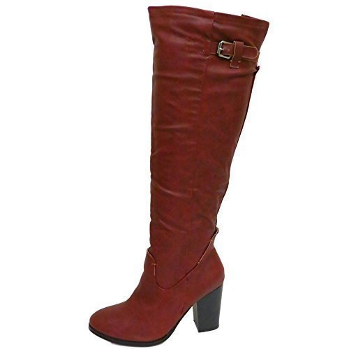 top-rated real enjoy lowest price super cute Ladies Dolcis Burgundy Knee-High Riding Zip Block Heel Boots Shoes Sizes 3-8
