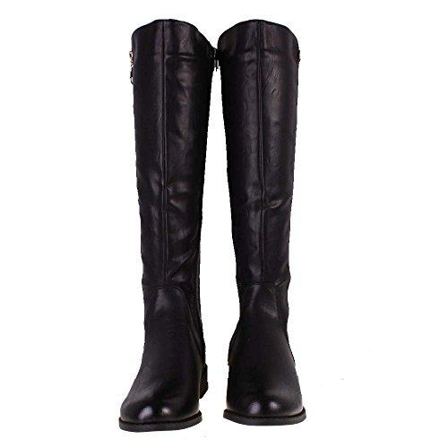 ella black leather look slim leg low heel knee high