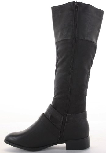 Ladies Flat Winter Biker Style Low Heel Fur Lined Calf