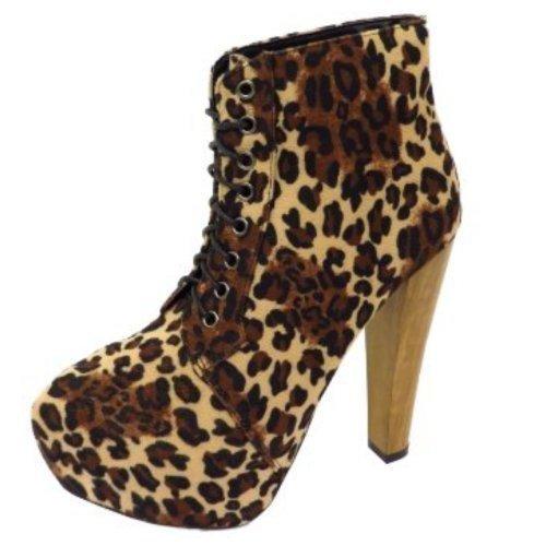 leopard print lace up platform high block heel