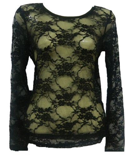 ladies long sleeve overhead lace top womens size 8 10 and