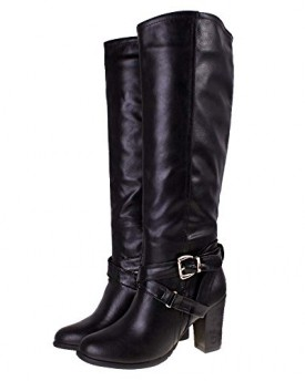 Black Brown Faux Leather Suede Knee High Heel Country