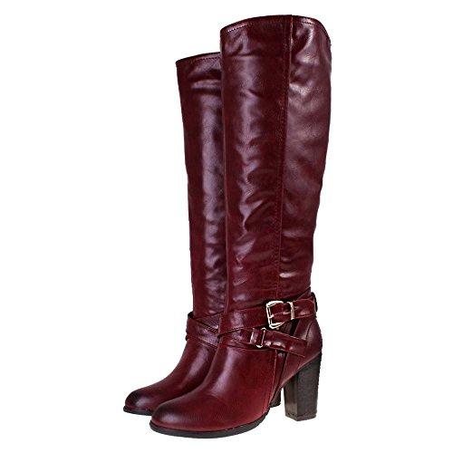 manfield burgundy leather look high heel knee high