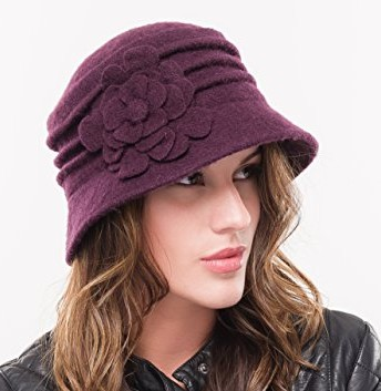 Ladies Purple Fashion Knitted Wool Cloche Hat - Top ...
