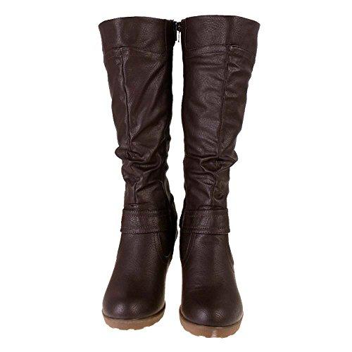 truffle brown leather look mid wedge heel knee high