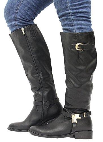 Ladies Women Calf Knee High Zip Up Block Heel Buckle Biker