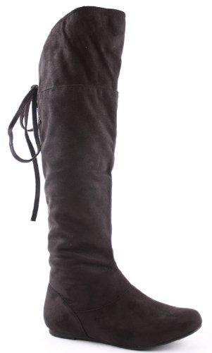 womens black flat heel knee thigh high winter biker