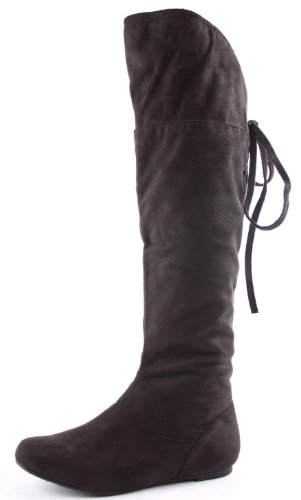 Ladies Womens Black Flat Heel Knee Thigh High Winter Biker