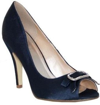 Ladies Womens Ivory Navy Blue Medium High Heel Satin Peep