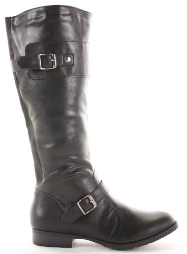 Ladies Womens Winter Biker Riding Style Knee Low Heel Calf
