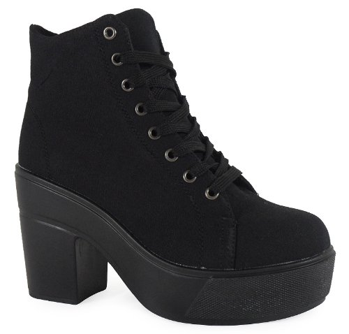 Loudlook New Womens Ladies Ankle Lace Up Platform High