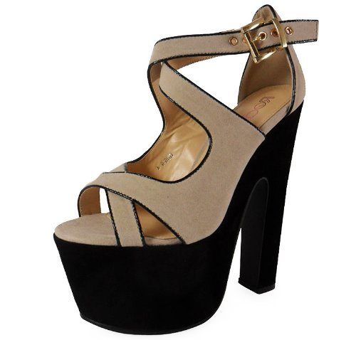 1371577748 ... Heel Shoes Chunky Platform Sandals Size 5. LoudLook-New-Womens-Ladies- Ankle-Straps-High-Block-