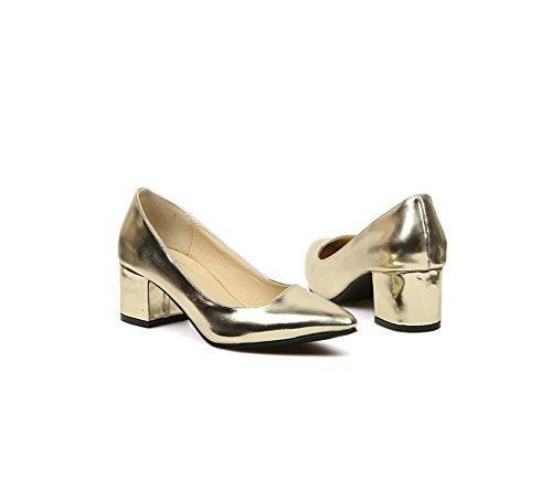 Medesign Womens Gold And Silver Block Heel Mid High Heel