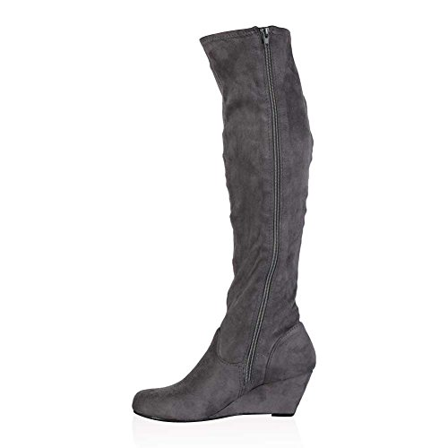 my1stwish s zip up knee high wedge heel boots grey