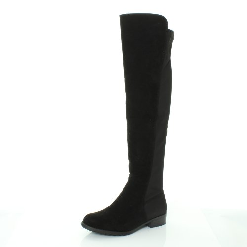 b65498e2e ... OVER KNEE THIGH HIGH FLAT BOOTS SHOES SIZE 3 4 5 6 7 8 (UK 4, Black Faux  Suede). Sale. NEW-HT45-LADIES-WOMENS-WIDE-LEG-CALF-STRETCH-