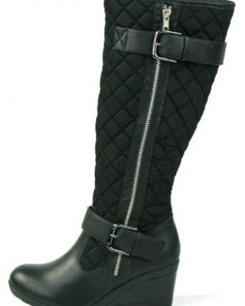 new trendy knee high wedge heel black padded