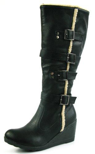 New Ladies Wide Calf Knee High Wedge Heel Tan Brown Fur