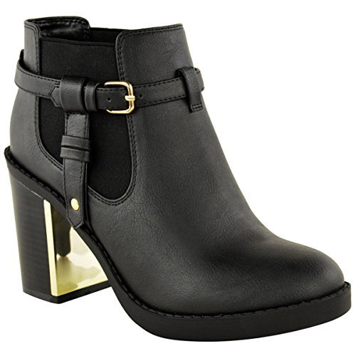 18295b8737308 NEW LADIES WOMENS GOLD MID HIGH HEEL CHELSEA ANKLE BOOTS CHUNKY ...