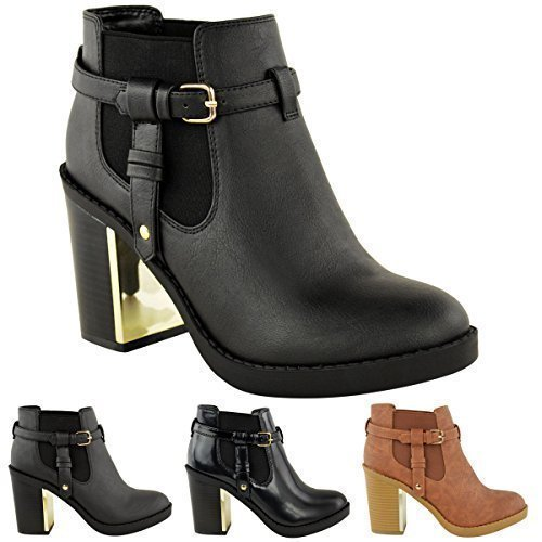 90616229996f NEW LADIES WOMENS GOLD MID HIGH HEEL CHELSEA ANKLE BOOTS CHUNKY ...
