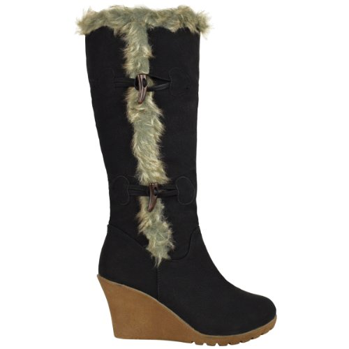 New Ladies Womens Mid Wedge Heel Fur Lined Warm Winter