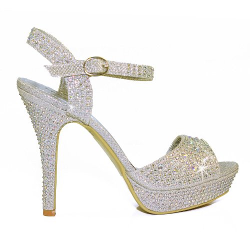 f5ab1c48cc8 NEW Ladies Sparkly Diamante Rhinestone Ankle Strap Sandals High Heel ...
