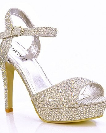 ad2afdfd4aa0 NEW Ladies Sparkly Diamante Rhinestone Ankle Strap Sandals High Heel ...