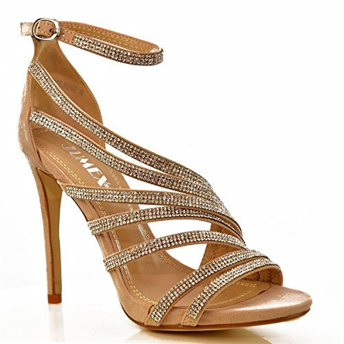 NEW Ladies Sparkly Rhinestone Strappy High Heel Evening Sandals ...