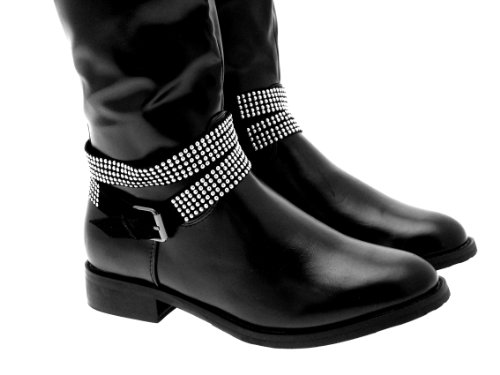 New Womens Biker Riding Boots Stud Ankle Strap Knee High