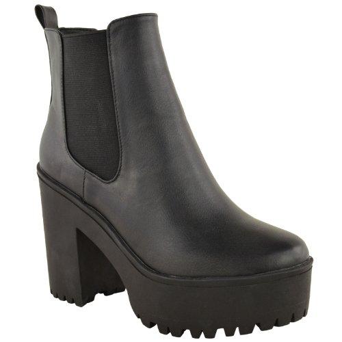 New Womens Ladies Chunky Cleated Sole High Heel Platform