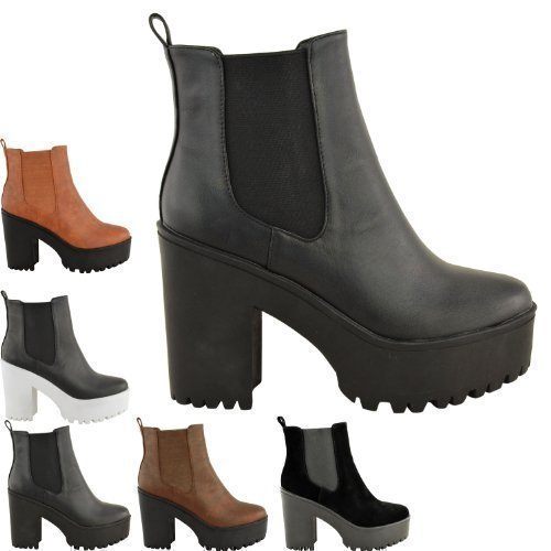 b3c399d4e98f NEW WOMENS LADIES CHUNKY CLEATED SOLE HIGH HEEL PLATFORM ANKLE BOOTS ...