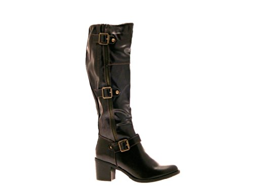 d413655be2ced NEW WOMENS STRAPPY WIDE CALF STRETCH BLOCK HEEL RIDING BOOTS KNEE ...