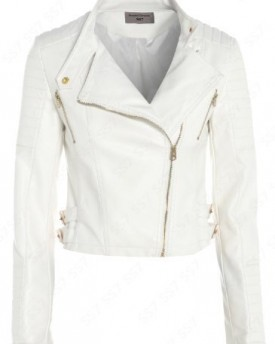 Tan UK 12 - Diana New Womens Faux Leather Biker Gold Button Zip