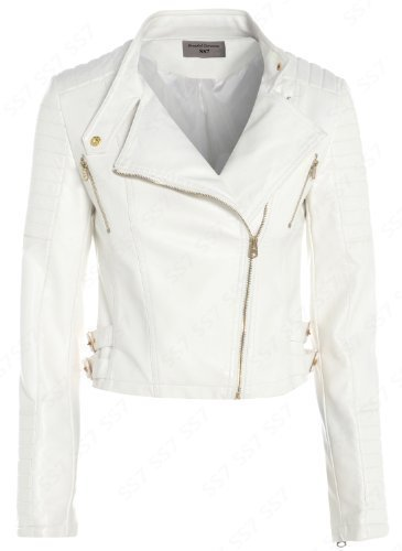 New Womens Biker Jacket Off White Faux Leather Size 8 16