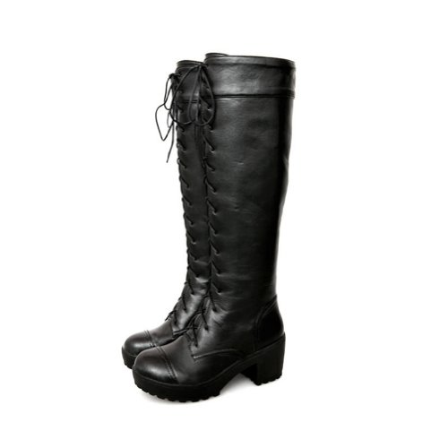 new arrival winter lace up non slip sole knee high boots