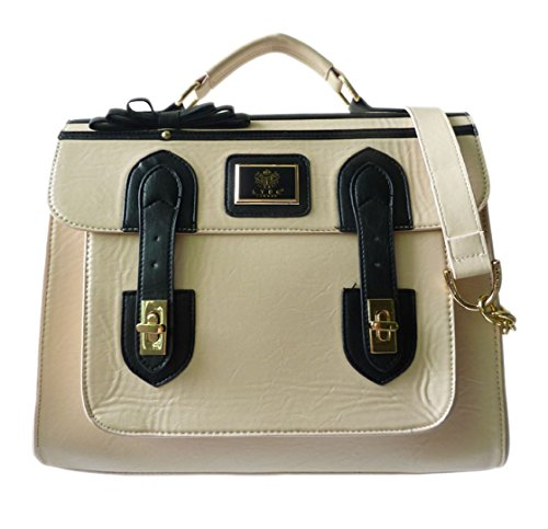 4683faab0f38 New LYDC Ladies Briefcase Leather Satchel Laptop Bag Designer Inspired Gold  Top Handle (Nude)