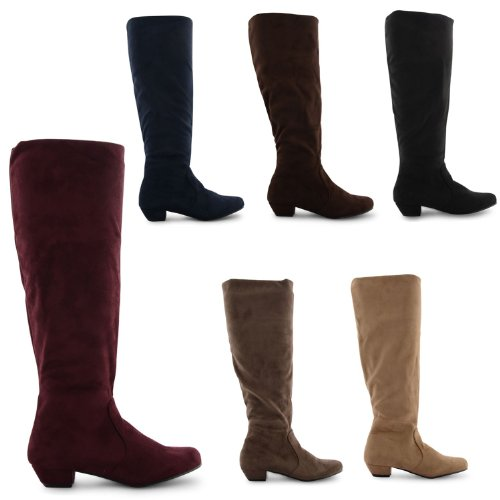 factory huge selection of new selection New Ladies Faux Suede Cuban Low Heel Knee High Pixie Pull On ...