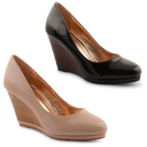 44759e8865b New Ladies High Wedge Heel Platform Stylish Slip On Court Shoes Size ...