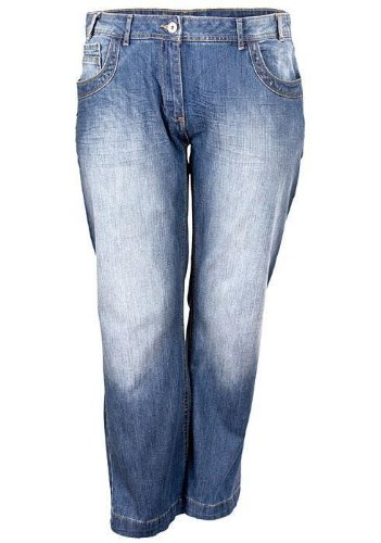 New Ladies Light Stone Wash Faded Plus Size Slouch Fit