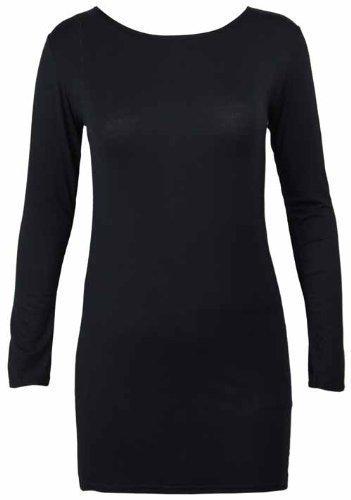 New Ladies Long Sleeve T Shirt Dress Tops Womens Plain
