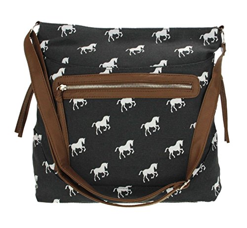 New Ladies Womens Canvas Oilcloth Faux Leather Crossbody Shoulder ... ed5a59e2d4751