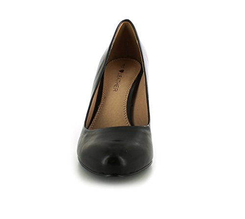New Ladies Womens Black Leather Court Shoes With Medium