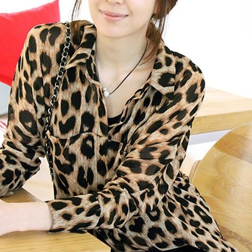 New Sexy Womens Leopard Animal Print Tops Loose Chiffon