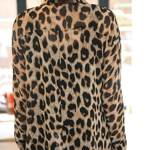b3e8de645d9305 New Sexy Womens Leopard Animal Print Tops Loose Chiffon Shirt Collar ...