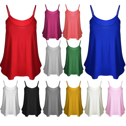 New Womens Ladies Basic Plain Camisole Thin Strap Stretchy Flared Swing Vest Top