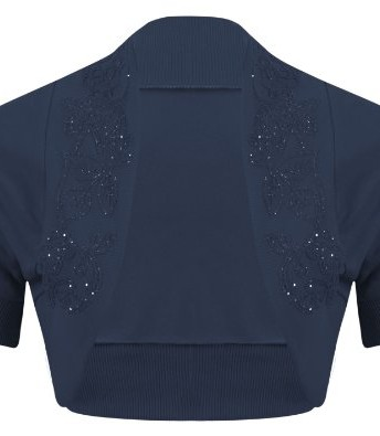 46e8eb91bc2bd New Womens Ladies Plus Size Short Sleeve Beaded Embellished Open ...